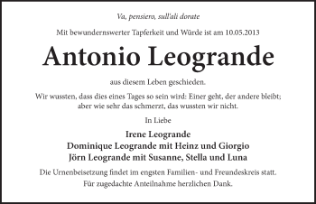 Zur Gedenkseite von Antonio Leogrande